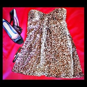 Strapless Leopard/Animal Print Mini by Betsey J