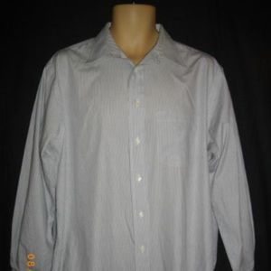 Burberrys 16.5 - 33 Stripe White Blue Shirt