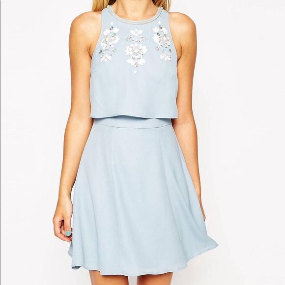 Asos Embellished Crop Top Dress Prom Graduation