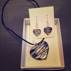 Jewelry - Glass Heart necklace with earrings!  *5 for $25*