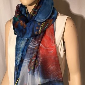 Accessories - Silk blue and red wrap scarf