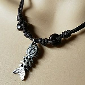 Rustic Silver Fishbone Leather & Wood Necklace