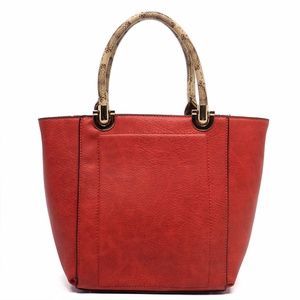 Handbags - Womens Fashion Handbags Python Top Handle Tote Red