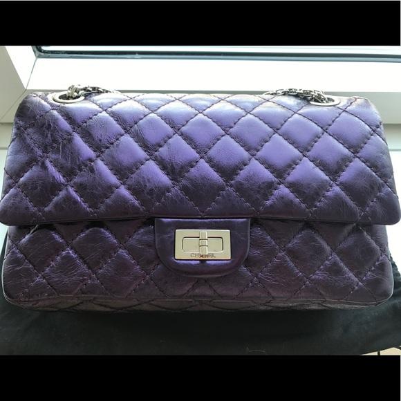 96d7997f5928 CHANEL Handbags - CHANEL PURPLE METALLIC REISSUE 225 DOUBLE FLAP