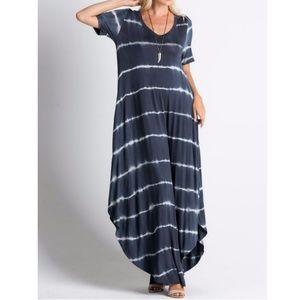 Dresses & Skirts - Tie dye maxi dress in Stormy Sky side hem slits
