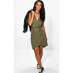 Army green wrap front dress