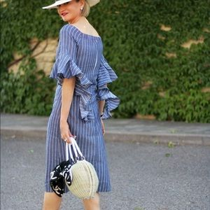 Dresses & Skirts - Pin Striped Off the Shoulder Dress