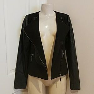 Black Jacket with faux leather size Small