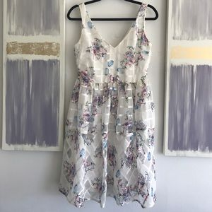 Maeve caged floral fit and flare midi dress