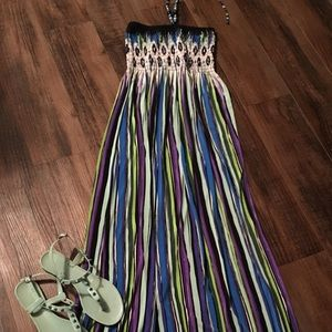 Dresses & Skirts - Long Maxi Dress w/beads on tie strings