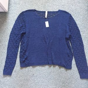 Aeropostale navy blue Crochet cropped sweater XL
