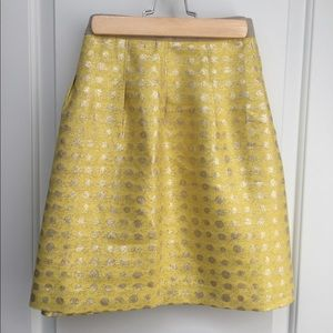 {Loft} Shimmering Yellow Polka Dot Skirt