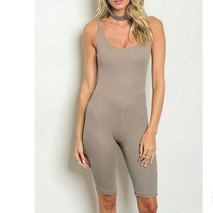 Pants - Tan Cropped Jumpsuit