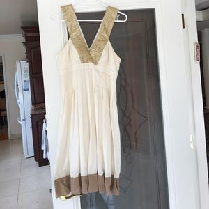 Nicole miller gold and cream dress