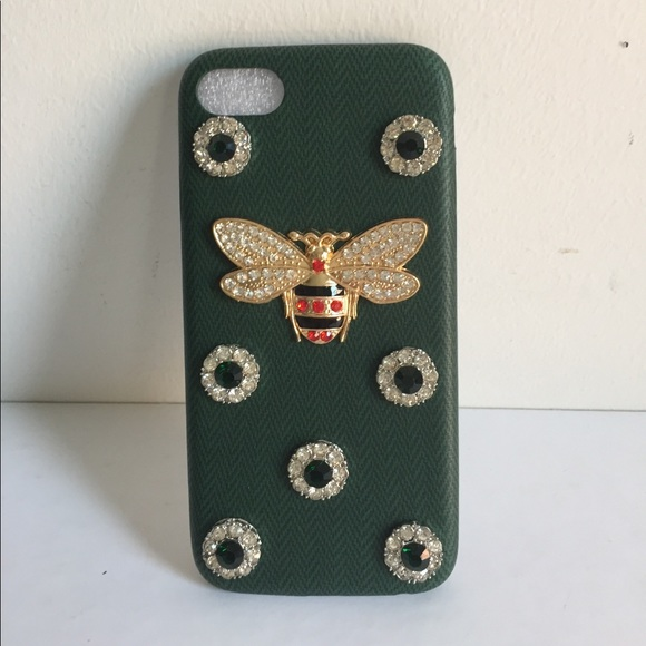 best service 40b53 a8ace Gucci Crystal Bee iPhone 7 case Soft Green New