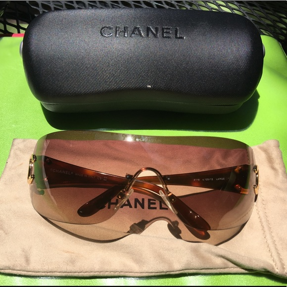 16b2ef60730c CHANEL Accessories   Brown Tortoise Shell Shield Sunglasses   Poshmark