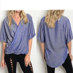 Tops - 🔥SALE🔥 Blue Denim Surplice Blouse S(3)-M(2)-L(1)