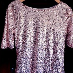 Tops - Sequin Top - Blush Pink - New