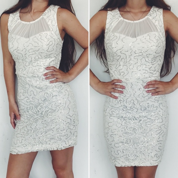 009a0dd0c jcpenney Dresses | White Gold Sequin Dress | Poshmark
