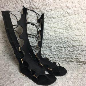 e7bde954046 Asos Shoes - ALDO Grelari Black Knee High Gladiator Sandals