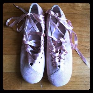 Shoes - Pink suede lace-up flats.