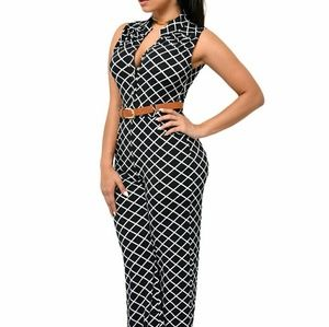 Pants - Lattice Print Wide Leg Jumpsuit
