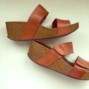 Saddle brown sandals