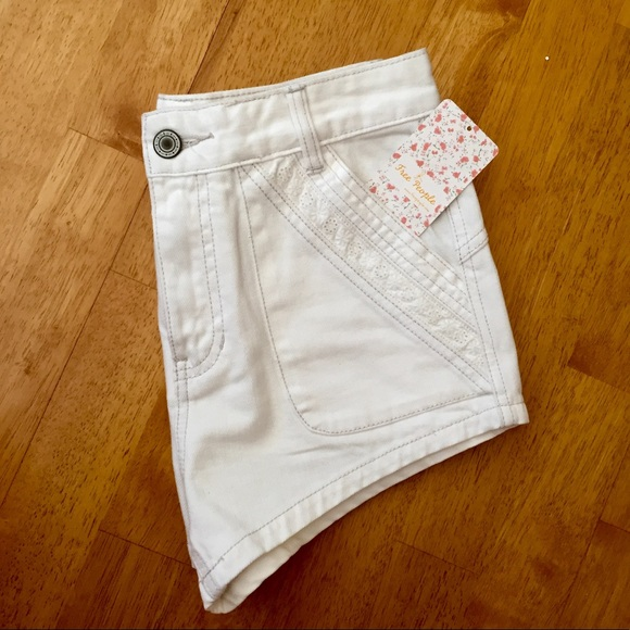 Free People Pants - Free People Lace-Detailed White Jean Short