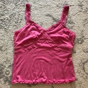 Pink ruffled mesh Sigrid Olsen tank top