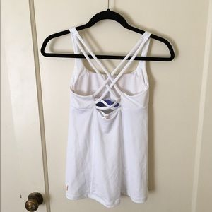 New Lucy White cross back active top