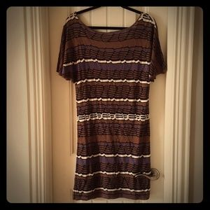 LAUNDRY BY DESIGN Brown Striped Dress Open Back