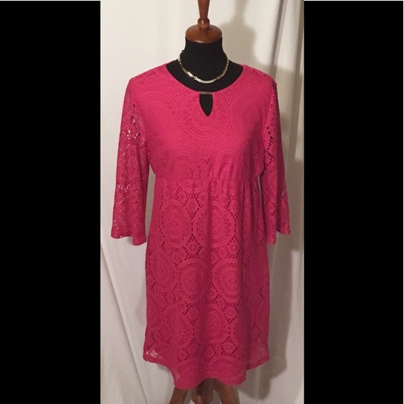 1931762b13e Maternity Dress Sz M Fuchsia Lace Midi. M 597fbfbac28456cee81217e0