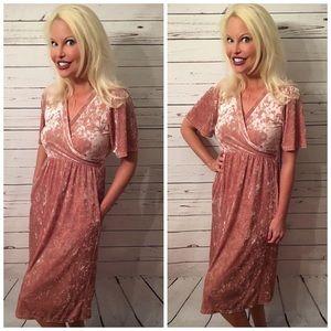 2 LEFT! Crushed Velour Faux Wrap Pocket Dress! 😘