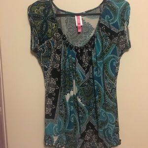 Blue and black blouse, women's dress top