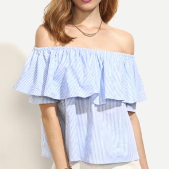 4361a25f95b Zara Tops | New Blue White Striped Ruffle Off Shoulder Top | Poshmark