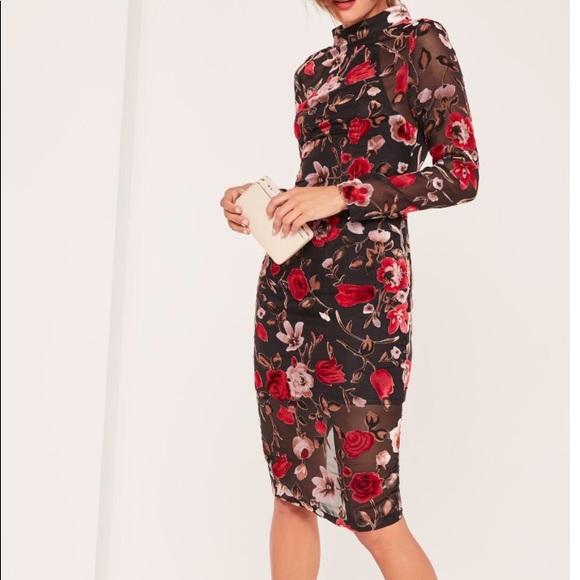 b33205193e Missguided Caroline Receveur velvet and mesh dress