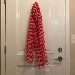 Accessories - Red & White Chevron Scarf