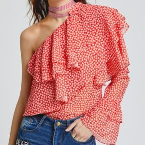 Tops - Off the shoulder one sleeve blouse