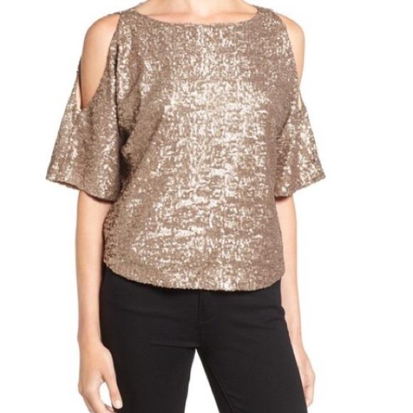 c230b2f2bf7 Splendid cold Shoulder Gold Sequin Top $148 Medium.  M_597fcbfbea3f3633a3126073