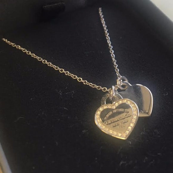 82e10c88f Tiffany & Co. Jewelry | Tiffany Co 18k White Gold Double Heart ...