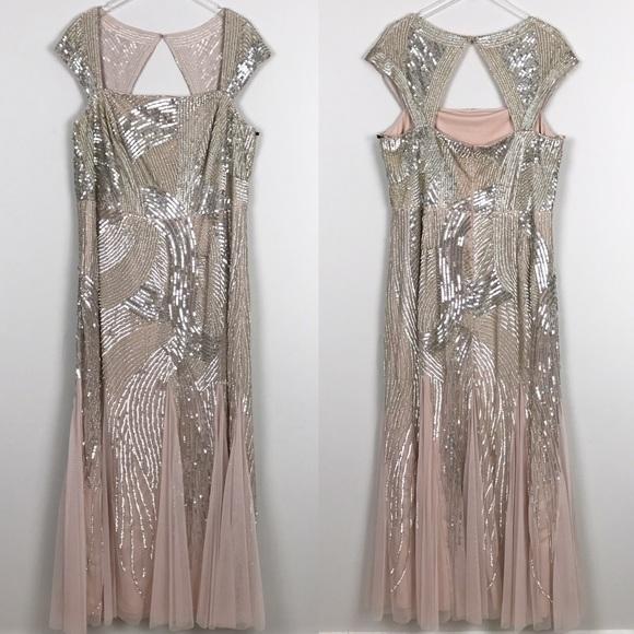 Adrianna Papell Dresses Adrianna Papell Cap Sleeve Beaded Evening Gown Poshmark