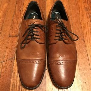 Men's oxford brown engine leather dress shoes
