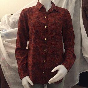 NWT Anthropologie CWonder Silk Blouse Red Black S