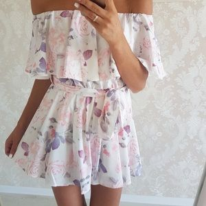 Pants - Floral Ruffle Strapless Romper