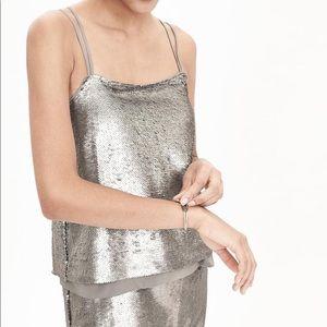 NWT Banana Republic Silver Sequin Strappy Dress