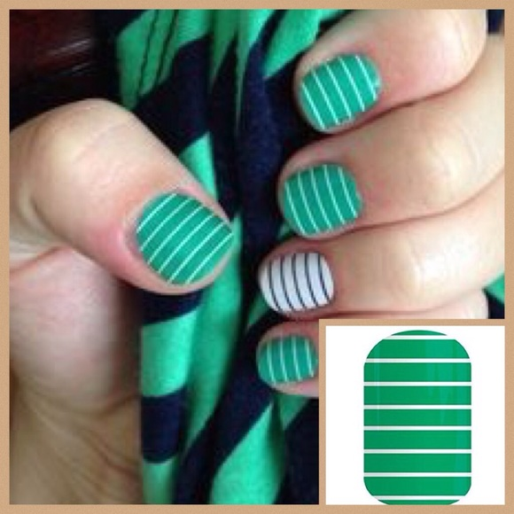 jamberry Makeup | Nail Wraps Arcade Green White Stripe | Poshmark