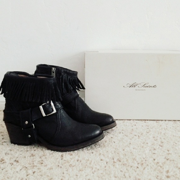 AllSaints Leather Ankle-Strap Booties