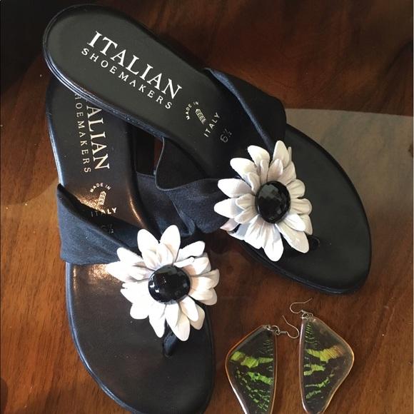 5a8749bd028b Italian Shoemakers Shoes - Flower flip flops