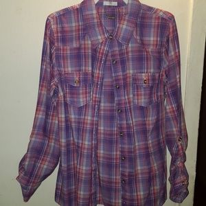 Tops - Womens pink and purple plaid button up shirt