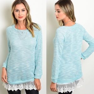 Sweaters - PRETTY BLUE AND IVORY LACE TRIM sweater
